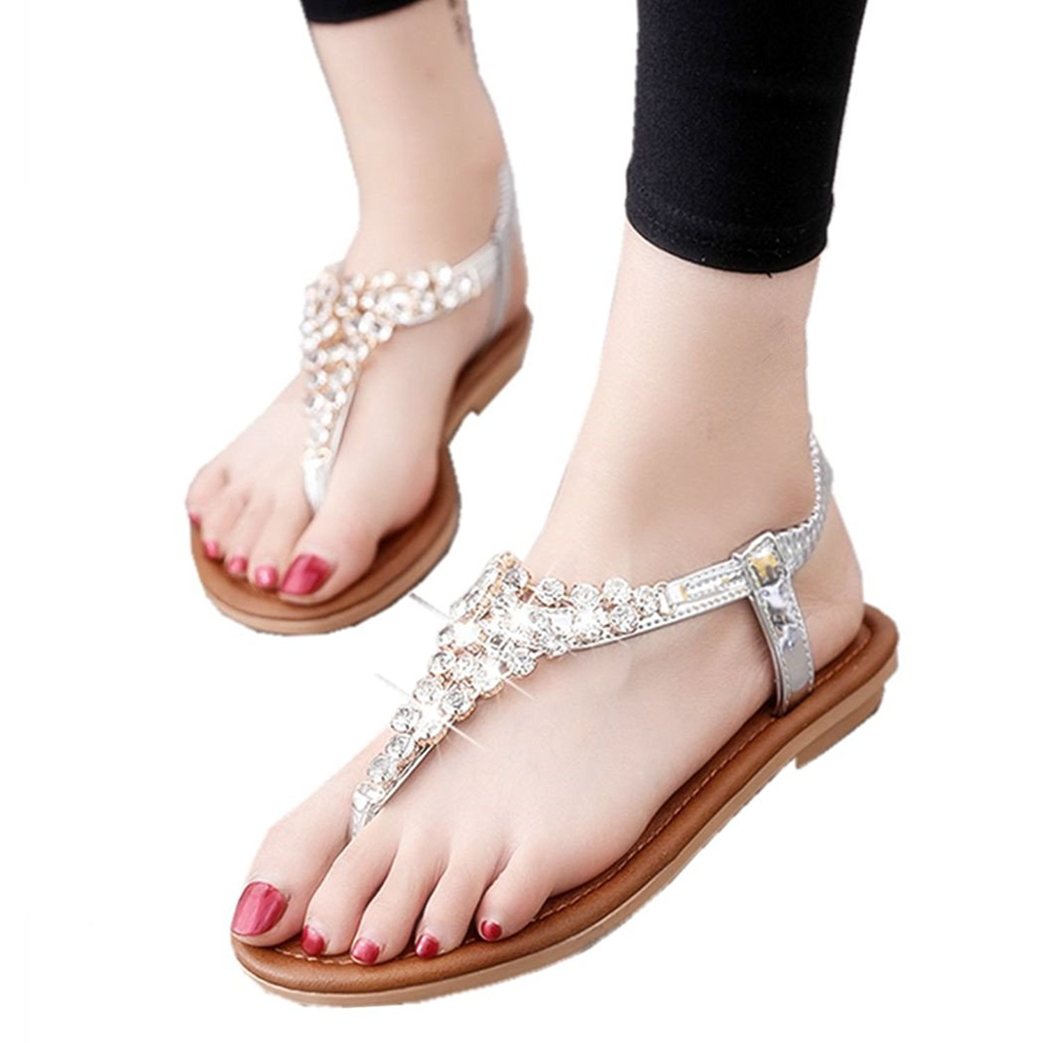 d58a72c3df0e Get Quotations · Womens Strappy Rhinestones Gladiator Sandals Low Heels  Flip Flop Ankle Strap Girls Thong Party Shoes
