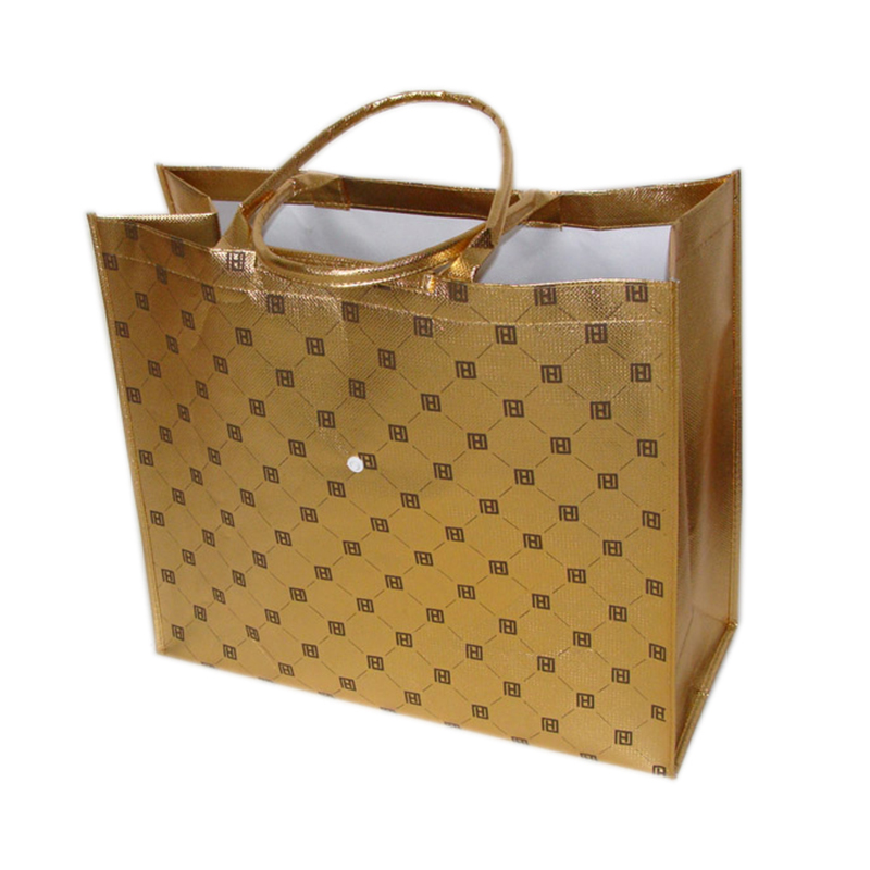 Recyclable handle tote bag  metallic gold lamination  non woven shopping bag