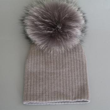 для новорожденных мех енота пом шапочки популярный стиль трикотажные