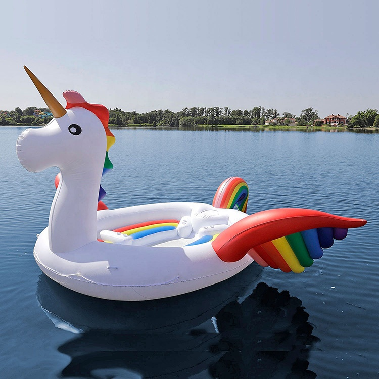 New Giant 6 Person River Lake Party Huge Inflatable Rainbow Unicorn Water Pool Floating Island Raft Pool Toy