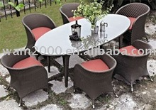 patio garden aluminum pe wicker dining table and chairs