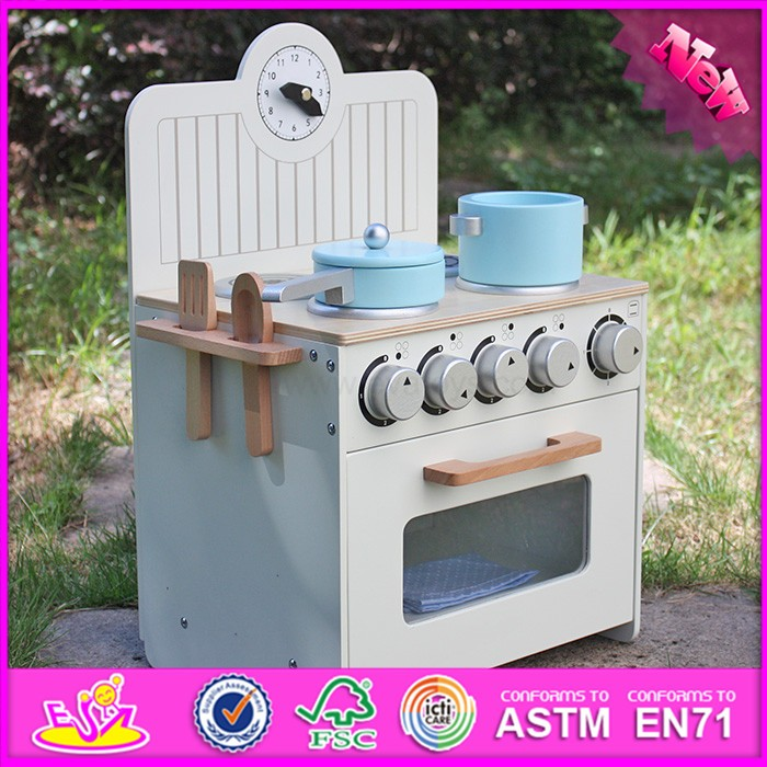 2017 new design fashion kids wooden miniature toy kitchen play set W10C213
