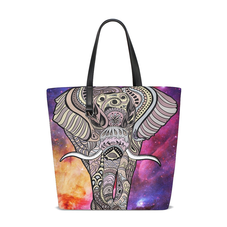 Get Quotations · ALAZA Tote Bag India Elephant Bohemia Nebula Designer  Purses and Handbags for Teens Girls 0587ed1271