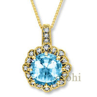 HP93-Blue Topaz- blue topaz pendant 14k yellow gold gemstone diamond pendant