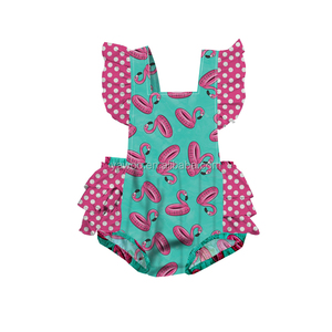 Yawoo flamingo swim ring infant toddler girls ruffle bubble romper baby rompers
