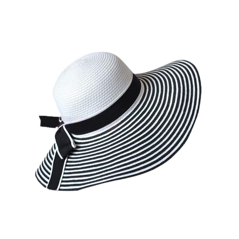 82de231c Get Quotations · Bobury Black White Stripe Bowknot Women Girl Summer Wide  Brim Hat Large Brimmed Hat Straw Braid