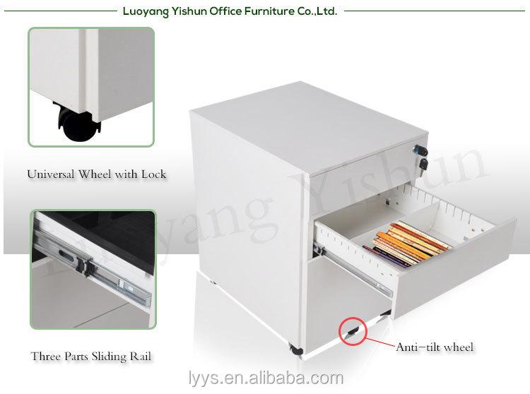 Luoyang kantoor afsluitbare metalen filing ladeblok met wielen