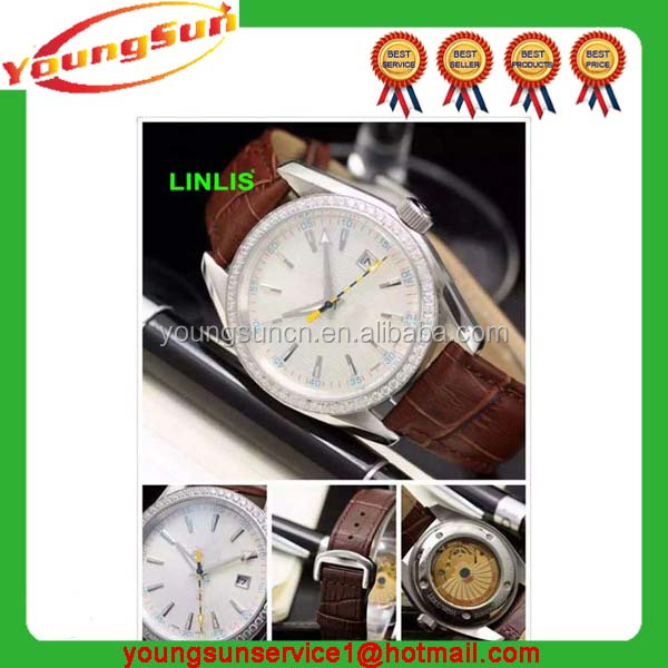 Newest Big face Waterproof Glass lense stainless steel back Top Quality Custom business watches for man