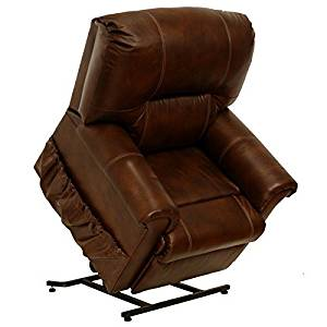 Catnapper Vintage 4843 Tobacco Top Grain Leather Power Pow'r Lift Full Lay Out Chaise Recliner Chair 350 Weight Capacity
