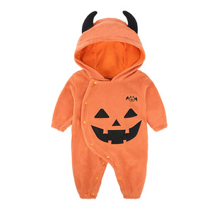 2018 All-Saints'Day Baby boys and girls show clothes baby pumpkin hooded jumpsuits Halloween baby romper