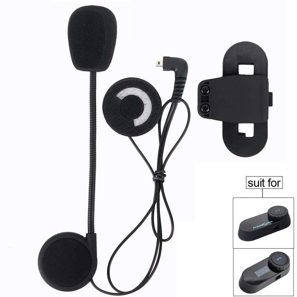 Sturdy and Durable//Black Motorcycle Helmet Speakers,FreedConn T-COMVB Series Headset and Clip Kits for Motorcycle Communication System