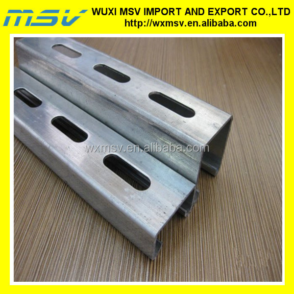 Slotted channel/metal u channel/unistrut sizes