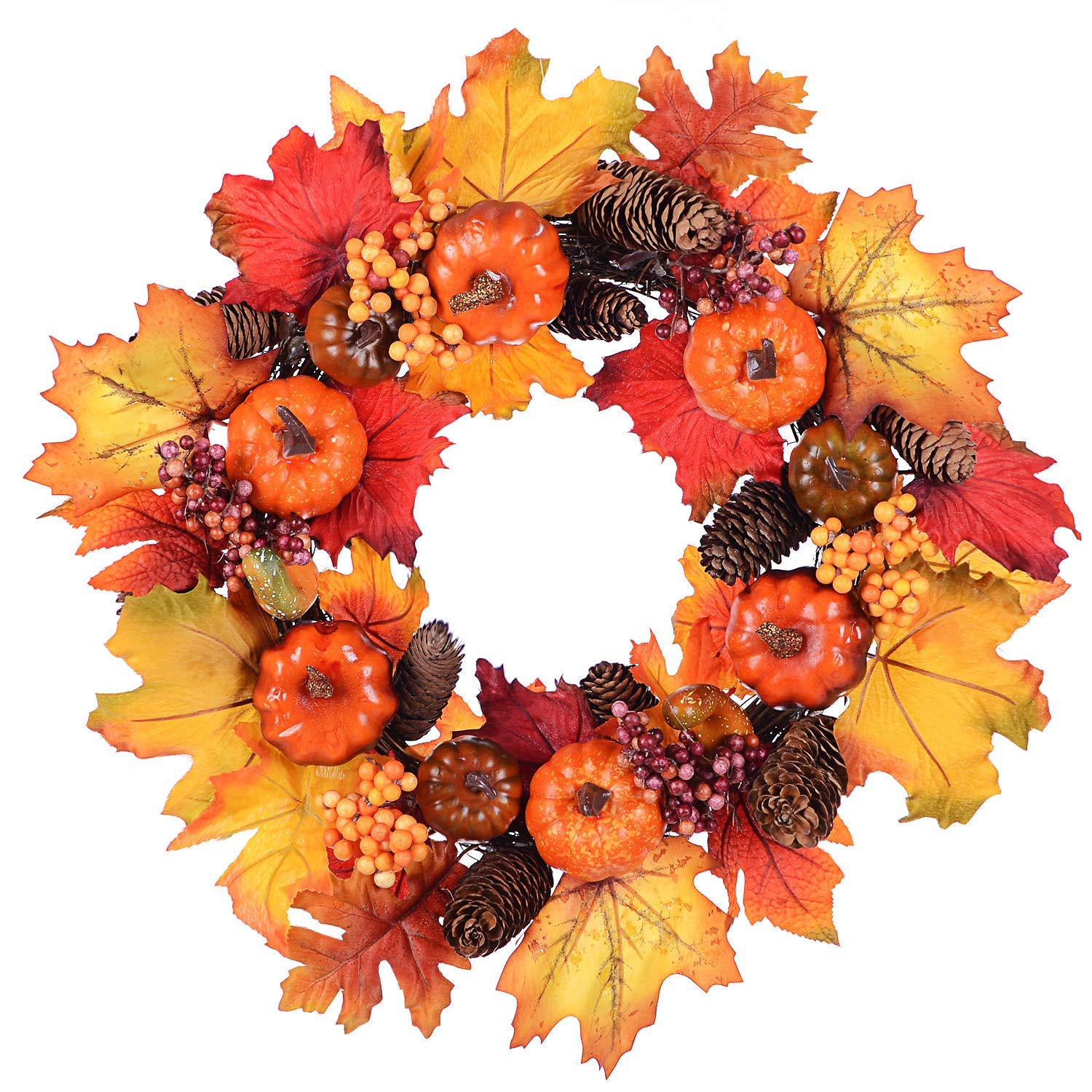 Woooow Silk Fall Front Door Wreath - 15 Inches Large Fall Wreath, Maple Leafs, Berries and Pumpkin Harvest Artificial Wreath, Brightens Front Door Decor with Rich Fall Colors, Storage Box Included