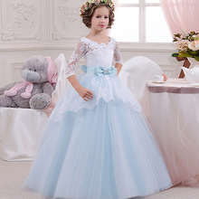 FW028 O-Neck Tulle Ball Gown For Baby Children Applique Princess Flower girl Dresses Kids Formal Wedding Party Christening Gown