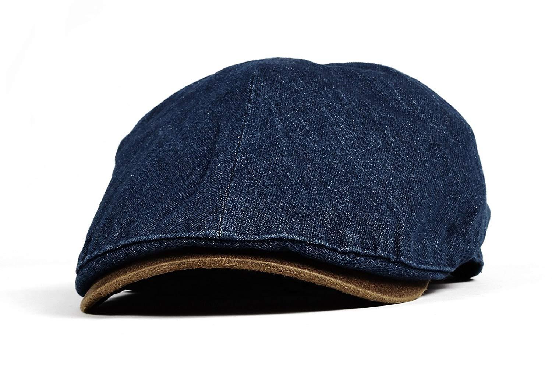 Get Quotations · WITHMOONS Denim Newsboy Hat faux leather brim Flat Cap  SL3017 ce00ebb10ed2