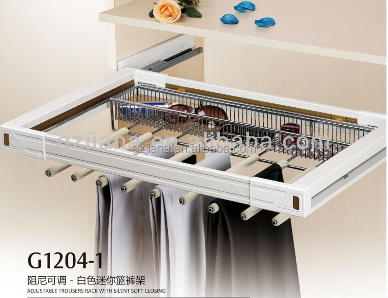 Pull Out Wardrobe Aluminum Pants Hanger Rack With Damping Slider Trouser Product On Alibaba Com