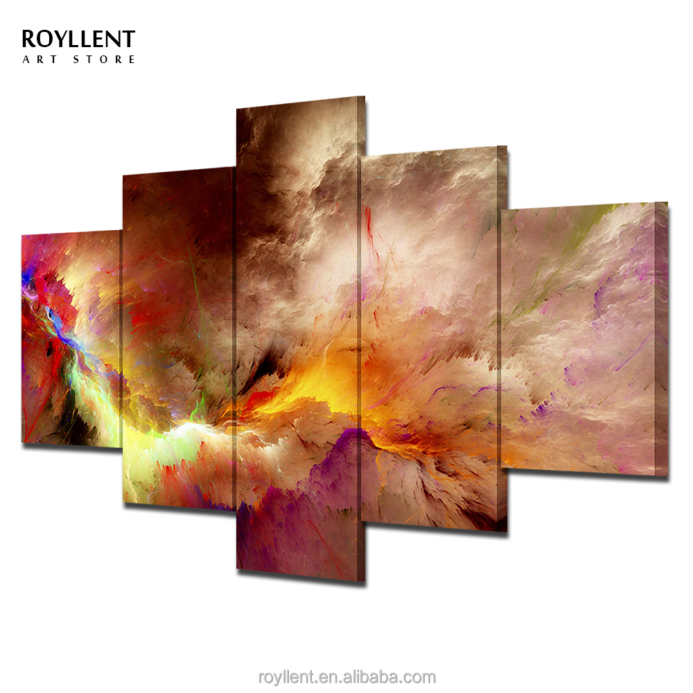 Abstract Star Cloud Nebula Canvas Painting 5 Panel Frames Photo Printings Wall <strong>Art</strong> for Living Room Home Decor Wholesale RA0030