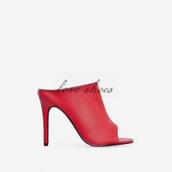 0f3fa30241972 Latest Sexy Ladies Hot Design Single Vamp Open Toe Open Back Women High  Heels Red Mules Slippers Stiletto Heels Pu Sandals - Buy Open Toe Stiletto  ...