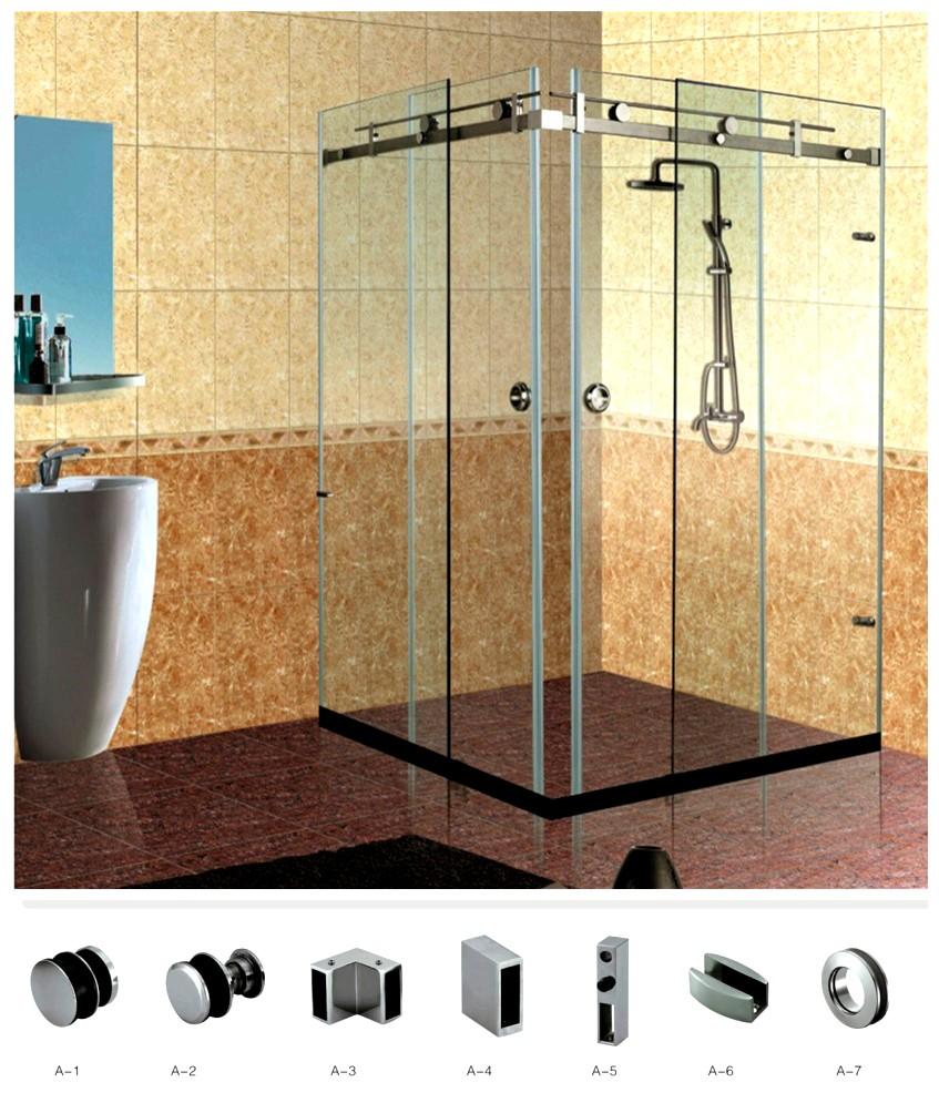 New Style 180 Degree Stainless Steel Sliding Shower Door System With ...
