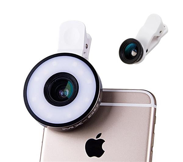 JGJ OEM Universal Clip-On Cell Phone Camera Lens Kit With Multi LED Light For All Smartphone For iPhone