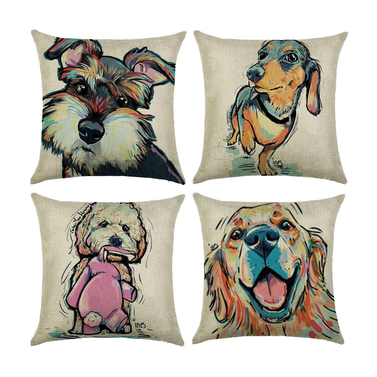 Carrie Home Cartoon Lovely Animal Abstract Oil Painting Adorable Pet Dogs Throw Pillow Covers Decorative Schnauzer Golden Retriever Dog Pillowcase for Sofa Bed Chair 18x18, 4 Pack
