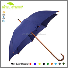 23 Inch Automatic Wooden Materials Curve Handle Straight Umbrella