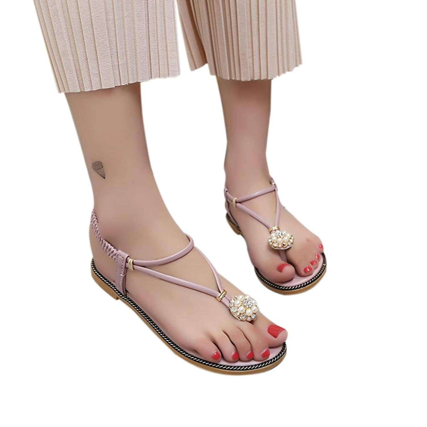 438ae3c47 Get Quotations · RAISINGTOP Women Bohemian Pearl Sandals Summer Fashion  Diamond Sandals Flat Sandals Juniors Shoes Dressy Comfortable
