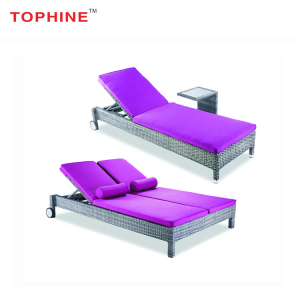 Commercial Contract TOPHINE Outdoor Furniture Aluminum Frame Single /Double Rattan Wicker Beach Sun Bed