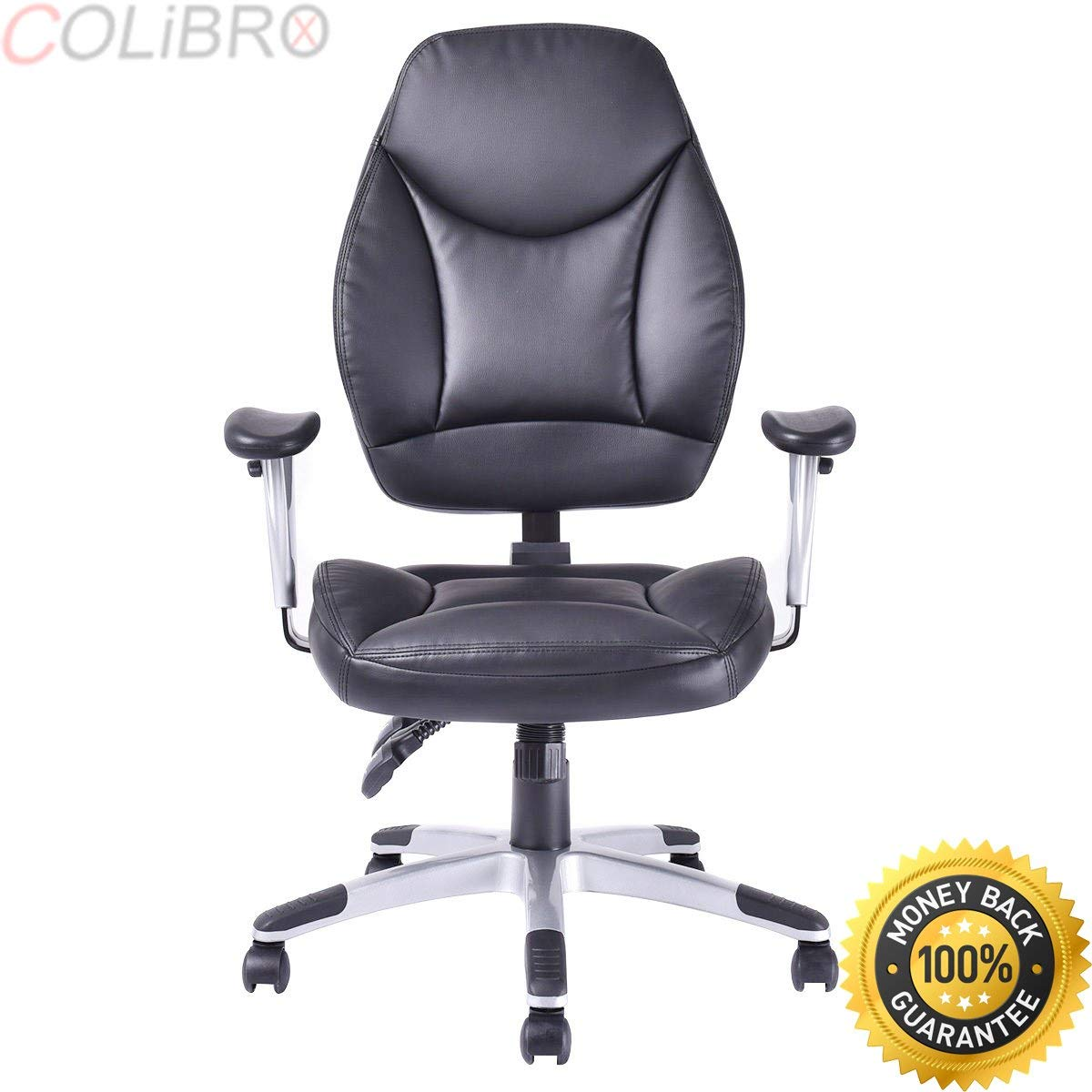 COLIBROX--Modern PU Leather High Back Executive Computer Desk Task Office Chair Black New. bestoffice ergonomic pu leather high back office chair. high back executive chair with headrest.