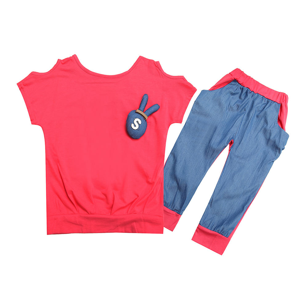 cute rabbit design little girl`s shirts+shorts high quality kids watermelon red summer suit