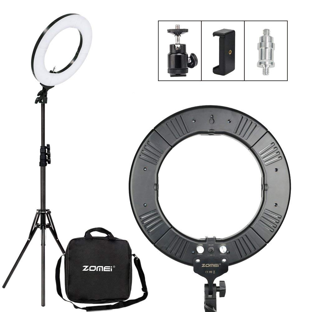 Zomei 14-inch Ring Light with Stand - Dimmable LED (41W 2700-5500K) Video Lighting Kit - for Camera, Smartphone, Photography, Makeup, Youtube Video Shooting