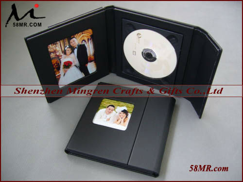 Custom Single Wedding Leather CD dvd Album Case,2Picture 1Disc