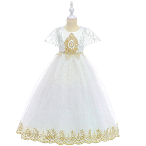 Maxi lace frock white flower girl princess long dress kids wedding gown