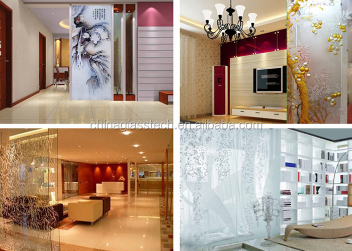 Living Room Decorative Customized Tempered Glass Partition Part 5