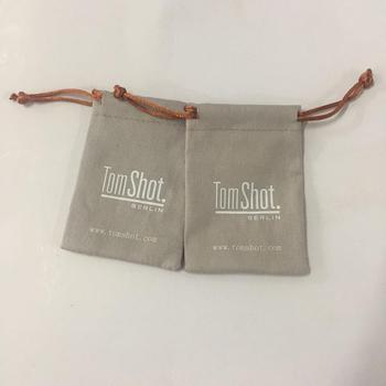 Logo Printed Grey Cotton Jewelry Pouch Canvas Gift Bags In High Quality Mini Bag