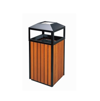 Outdoor Wooden Recycling Park Garbage Can Trash Bin Decorative Waste Bins