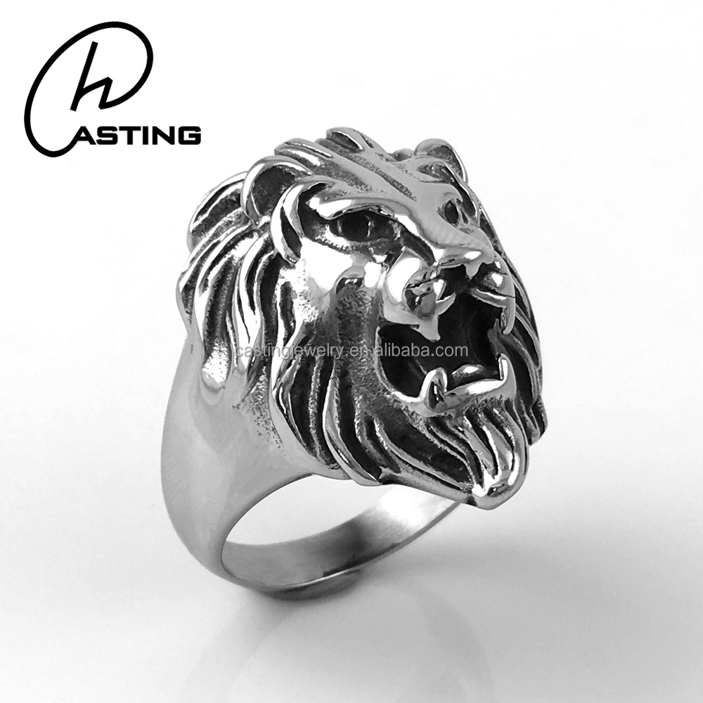 Jewelry Casting Exaggerated Stainless Steel Lion Head Rings