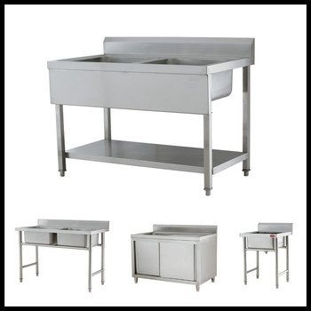 Large Size Kitchen Stainless Steel Work Table With Washing Hand Sink - Stainless steel work table with sink