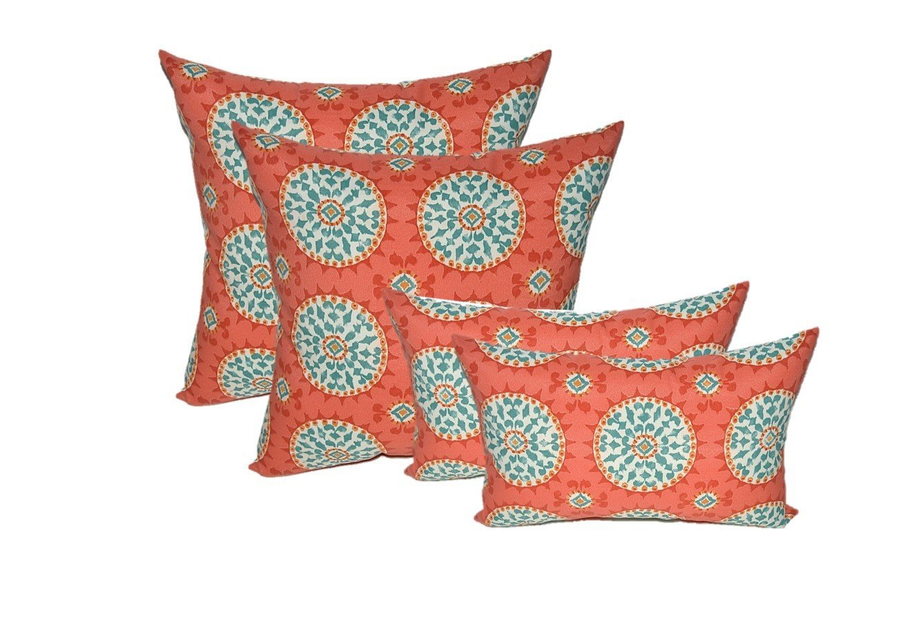 Set Of 4 Indoor Outdoor Pillows 17 Square Throw Rectangle Lumbar Decorative Red C Turquoise Sundial In