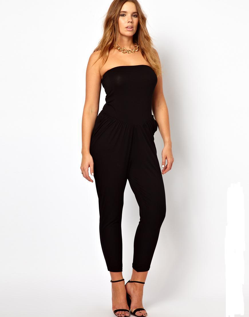 4a35506234fa Get Quotations · 2015 hot sale sexy black strapless jumpsuit plus size  casual jumpsuit women bandage bodycon jumpsuit 3xl