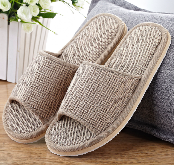 Homestay hostel linen <strong>slipper</strong> open toe flax hotel <strong>slipper</strong>