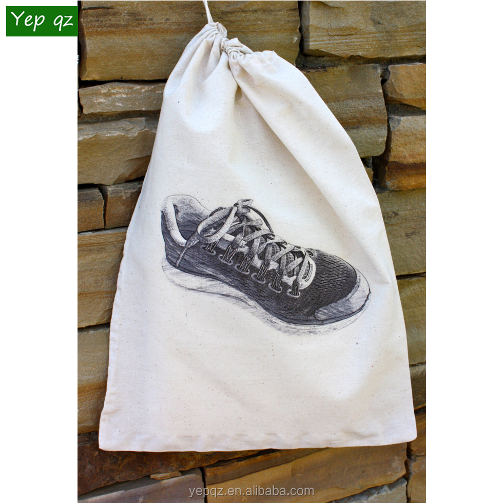 Cheap China shop online natural color cotton reusable promotion best selling customized women golf shoe bag