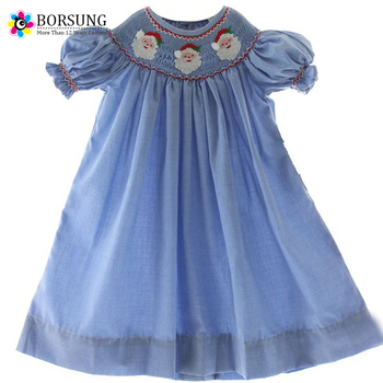 Baby Cotton Latest Frocks Designs Kids Girls Blue Santa Face ...