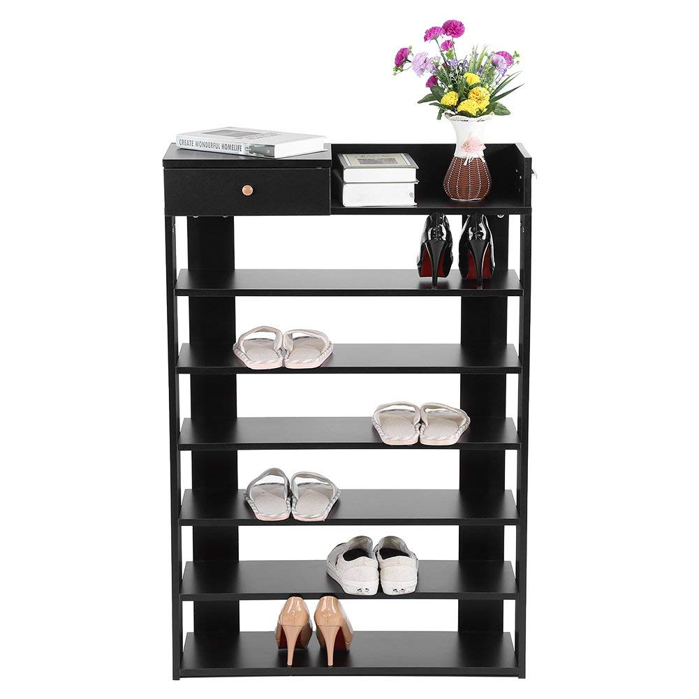 Shoe Rack Closet,6 Tiers Black Standing Shoe Rack with Drawer Shoe Tower Shelf Storage Organizer Strong & Sturdy Space Saver