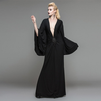 c62f7fe84e4 Black Elegant Gothic V Neck Bats Sleeve Long Evening Dress - Buy ...