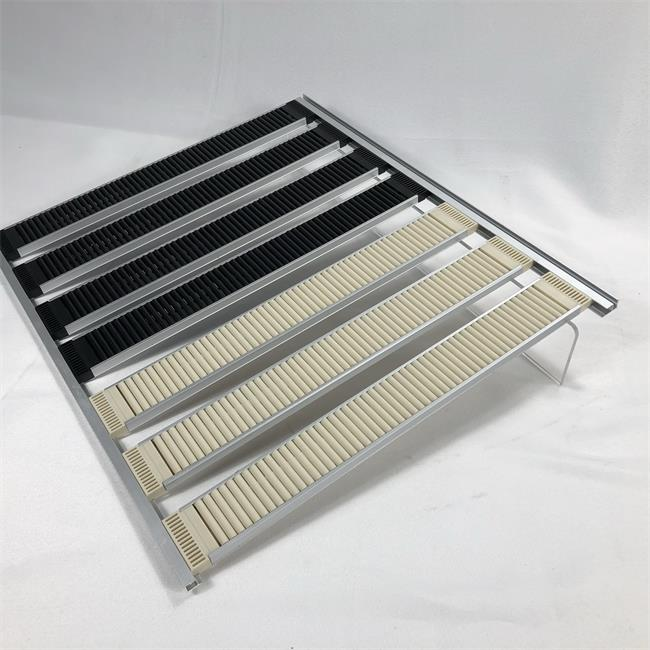 Auto-front sliding roller pusher shelf with stopper and divider used in supermarket shelf or freezer for drinks/milk