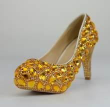 BaoYaFang/свадебные туфли с золотыми кристаллами; туфли на платформе и высоком каблуке; женские модельные туфли; женские туфли-лодочки с стелько...(Китай)