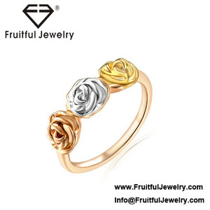 latest flower shaped jewelry High grade gold and silver double color rose ring