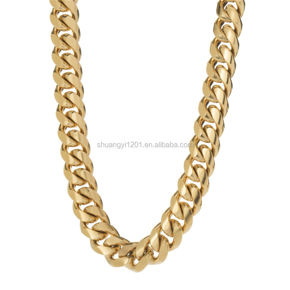 Gold Color Stainless Steel Heavy Chunky Curb Link Chain Necklaces Jewelery For Men