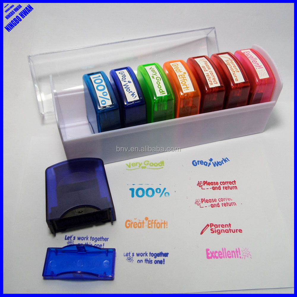 Hot selling collection inked funny teacher stamps